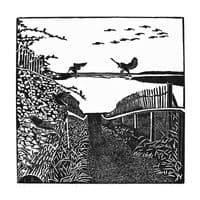Pinkfoots | Woodcut Print | Valerie Sims